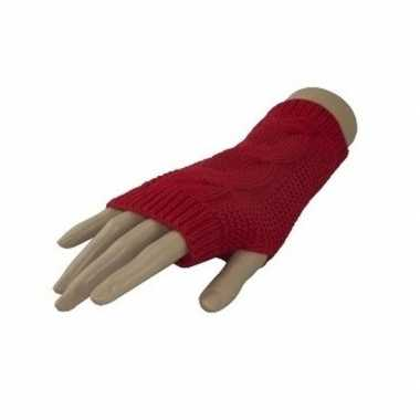 Carnavalskleding feestartikelen gebreide vingerloze polsjes handschoenen kabelpatroon rood volwassen