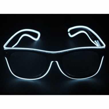 Carnavalskleding Feestbril witte LED verlichting helmond ...
