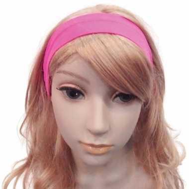 Carnavalskleding felroze haarband helmond