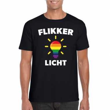 Carnavalskleding flikker licht shirt regenboog lampje zwart heren hel