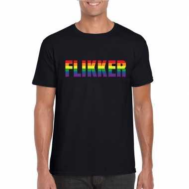 Carnavalskleding flikker regenboog tekst shirt zwart heren helmond