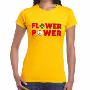 Carnavalskleding flower power tekst t shirt geel dames helmond