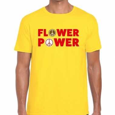 Carnavalskleding flower power tekst t shirt geel heren helmond