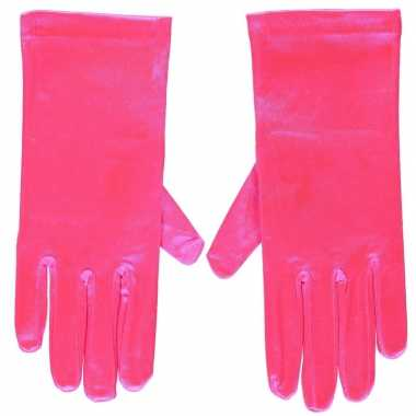 Carnavalskleding fuchsia roze gala handschoenen kort satijn helmond