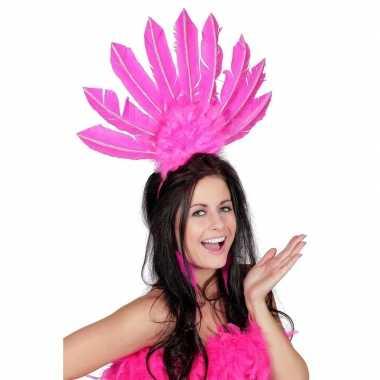 Carnavalskleding fuchsia roze haarband veren dames helmond