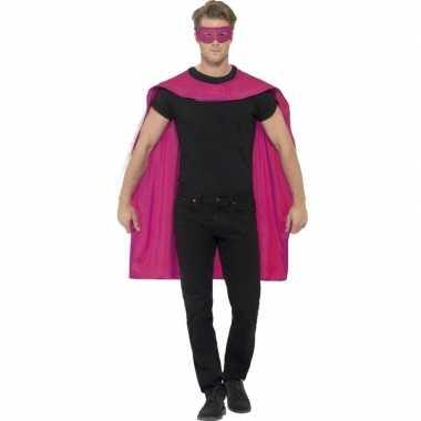 Carnavalskleding fuchsia roze superhelden cape masker helmond