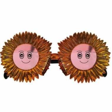 Carnavalskleding funbril zonnebloemen goud volwassenen helmond