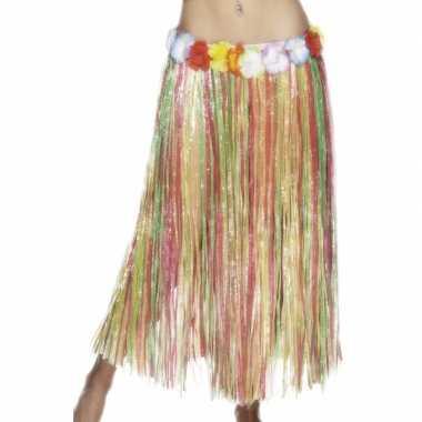 Carnavalskleding  Gekleurde hawaii rok vrouwen helmond