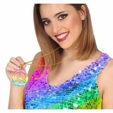 Carnavalskleding gekleurde hippie ketting vredesteken helmond