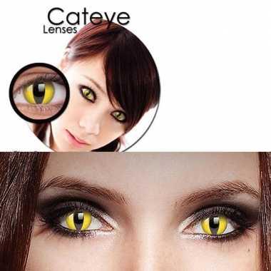 Carnavalskleding gele katten ogen funlenzen helmond