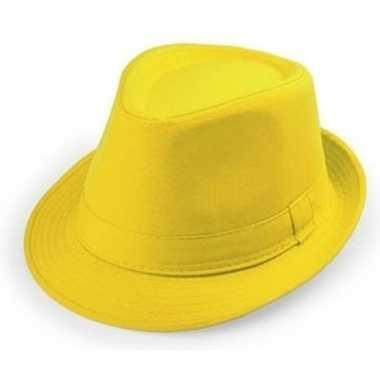 Carnavalskleding gele trilby hoedjes volwassenen helmond