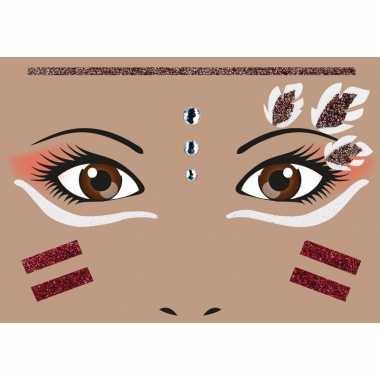 Carnavalskleding gezicht glitter plakkers indiaan helmond
