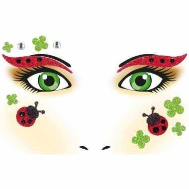 Carnavalskleding gezicht glitter plakkers lieveheersbeestje helmond