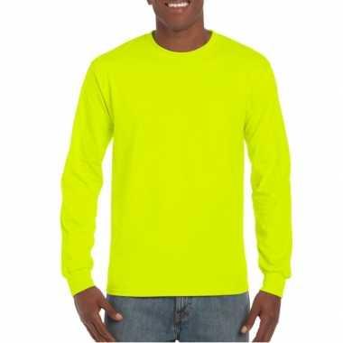 Carnavalskleding gildan t-shirt lange mouwen lichtgevend geel helmond