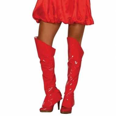 Carnavalskleding glanzende rode laars hoezen helmond