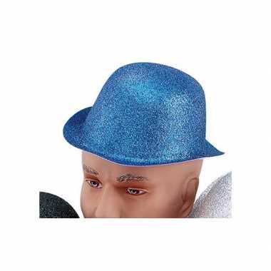 Carnavalskleding glitter bolhoed blauw helmond