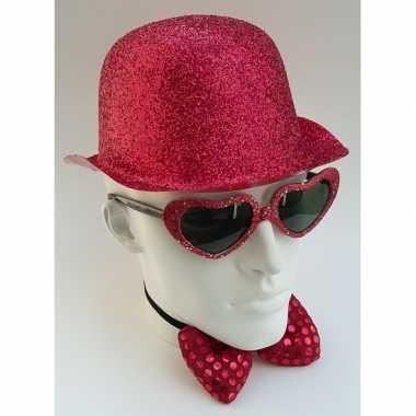 Carnavalskleding glitter bolhoed rood helmond