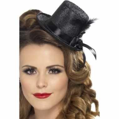 Carnavalskleding glitter hoog hoedje zwart helmond