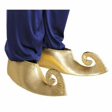 Carnavalskleding gouden aladdin overschoenen volwassenen helmond
