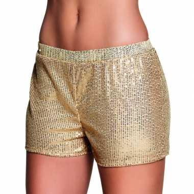 Carnavalskleding gouden dames hotpants pailletten helmond