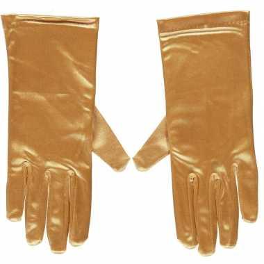 Carnavalskleding gouden gala handschoenen kort satijn helmond