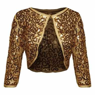 Carnavalskleding gouden glitter pailletten disco bolero jasje dames h