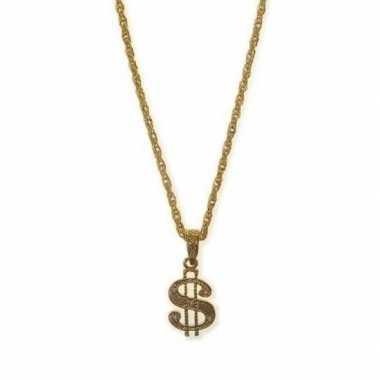 Carnavalskleding gouden ketting dollarteken helmond