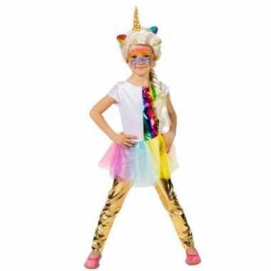 Carnavalskleding gouden legging verkleed accessoire kinderen helmond