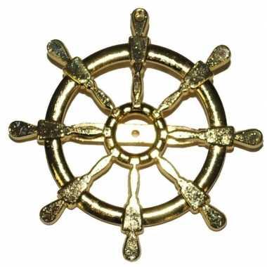 Carnavalskleding gouden matroos/zeeman verkleed broche scheepsroer he