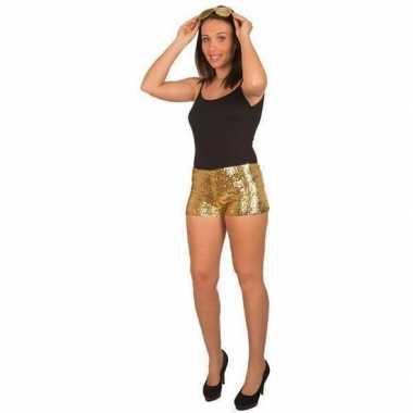 Carnavalskleding gouden pailletten hotpants dames helmond