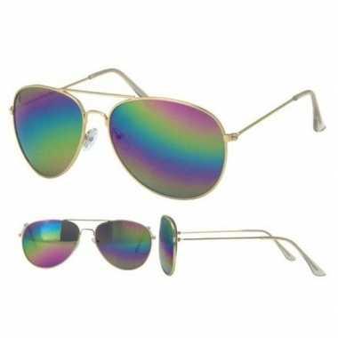 Carnavalskleding gouden politiebril dames/heren helmond