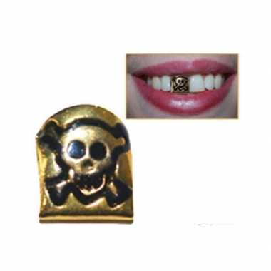 Carnavalskleding gouden tandje doodshoofd helmond