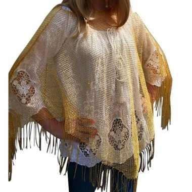 Carnavalskleding gouden visnet poncho/ omslagdoek/ stola dames helmon