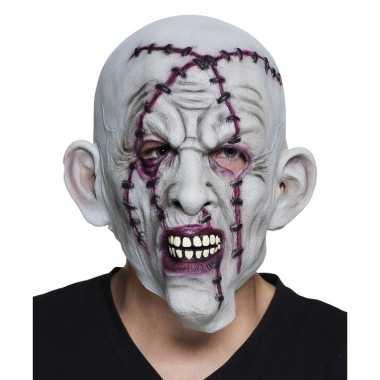 Carnavalskleding grijze horror masker litteken nietjes latex helmond