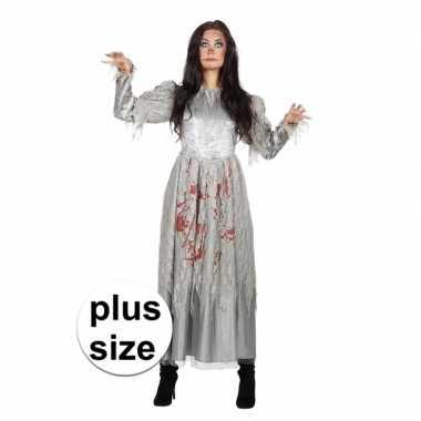 Carnavalskleding grijze jurk grote maat bloed dames helmond