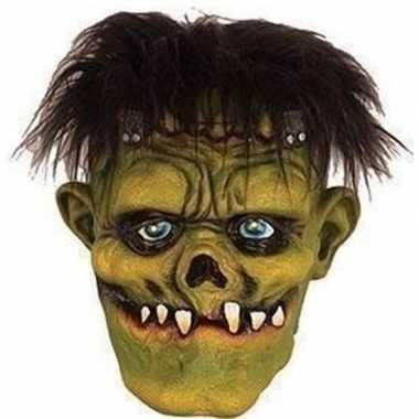 Carnavalskleding groen horror frankenstein monster masker latex helmo