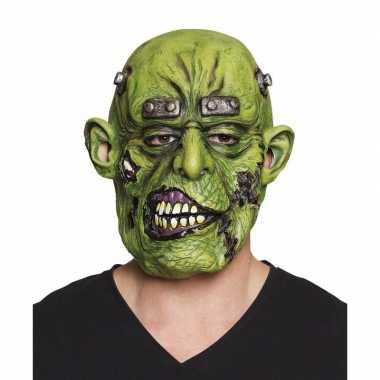 Carnavalskleding groen horror ogre monster masker latex helmond