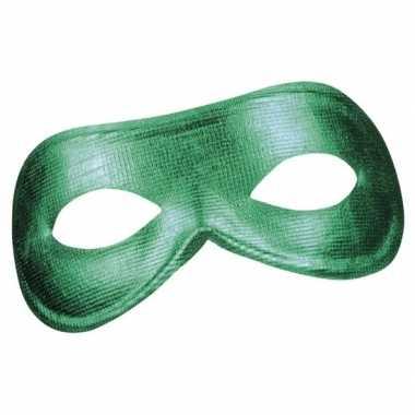 Carnavalskleding groen metallic oog masker dames helmond