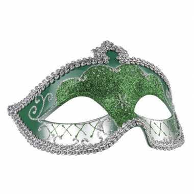 Carnavalskleding groen/zilver glitter oog masker dames helmond