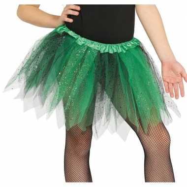 Carnavalskleding groen/zwarte verkleed petticoat meisjes helmond