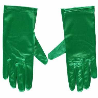 Carnavalskleding groene gala handschoenen kort satijn helmond