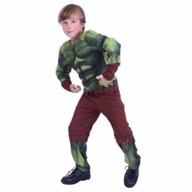 Carnavalskleding groene gespierde superheld jongens helmond