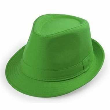 Carnavalskleding groene trilby hoedjes volwassenen helmond