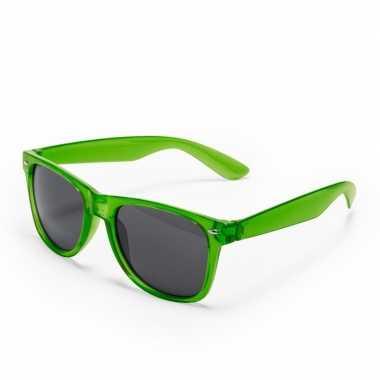 Carnavalskleding groene verkleed accessoire zonnebril volwassenen hel