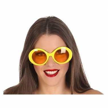 Carnavalskleding grote gele ronde verkleed zonnebril helmond