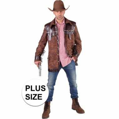 Carnavalskleding grote maten cowboy verkleed jas bruin heren helmond