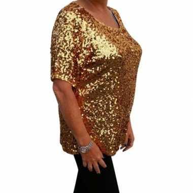 Carnavalskleding grote maten gouden glitter pailletten disco shirt da