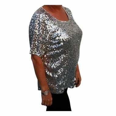 Carnavalskleding grote maten zilveren glitter pailletten disco shirt