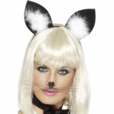 Carnavalskleding haarband katten/poezen oren dames helmond