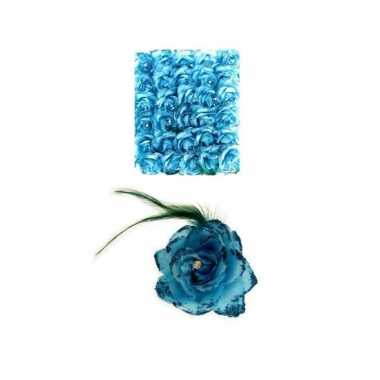 Carnavalskleding haarbloem blauw elastiek helmond